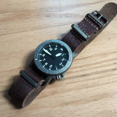 COURG on prototype Italian Leather MilStrap with exclusive Redux strap titanium hardware