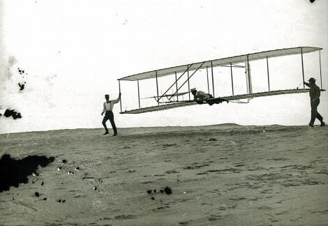 Wright brothers and crew at Kitty Hawk