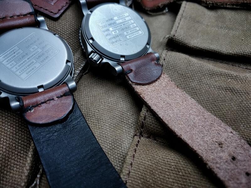 Cognac leather, lined construction, full stitch, sealed edge (left), Mahogany leather, raw construction and edge, minimal stitch.